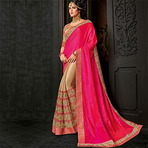 Lovely Pink-Beige Partywear Two-Tone Silk And Lycra Saree