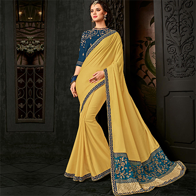 Pretty Yellow Designer Blouse Cotton Silk Saree