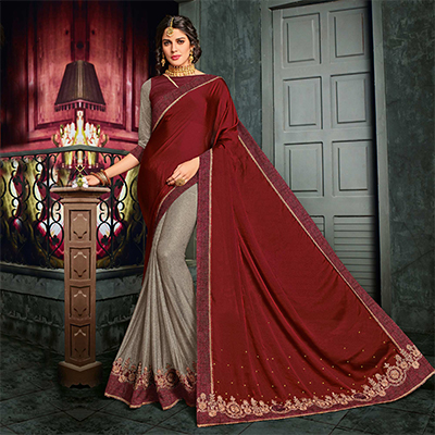 Charming Maroon-Gray Partywear Georgette And Lycra Saree