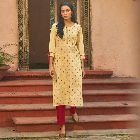 Eye-catching Cream Colored Casual Wear Embroidered Cotton Kurti With Bottom