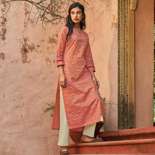 Fantastic Peach Colored Casual Wear Embroidered Cotton Kurti With Bottom