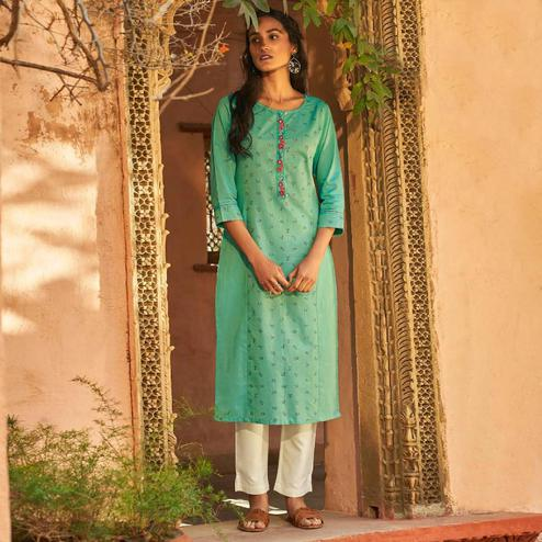 Gorgeous Turquoise Green Colored Casual Wear Embroidered Cotton Kurti With Bottom