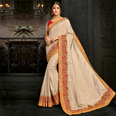Adorable Beige Floral Embroidered Silk Saree