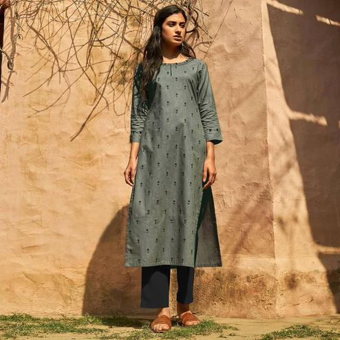 Ideal Grey Colored Casual Wear Embroidered Cotton Kurti With Bottom
