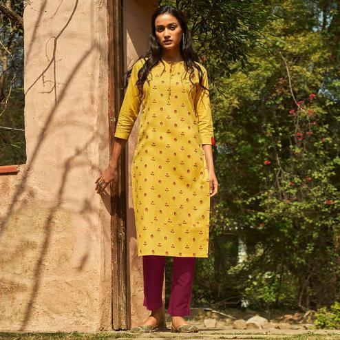 Imposing Yellow Colored Casual Wear Embroidered Cotton Kurti With Bottom