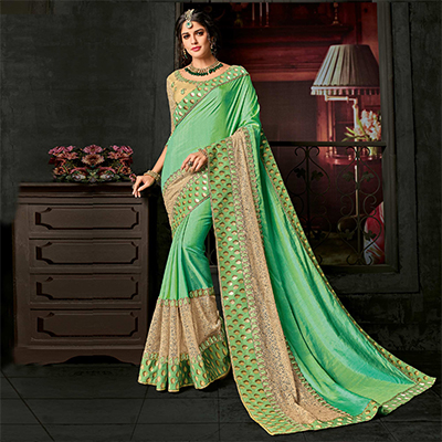 Delightful Green Designer Two-Tone Silk Saree