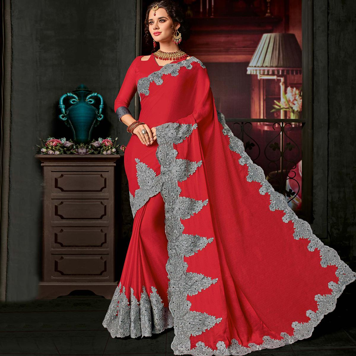 Stunning Red Color Partywear Georgette Saree