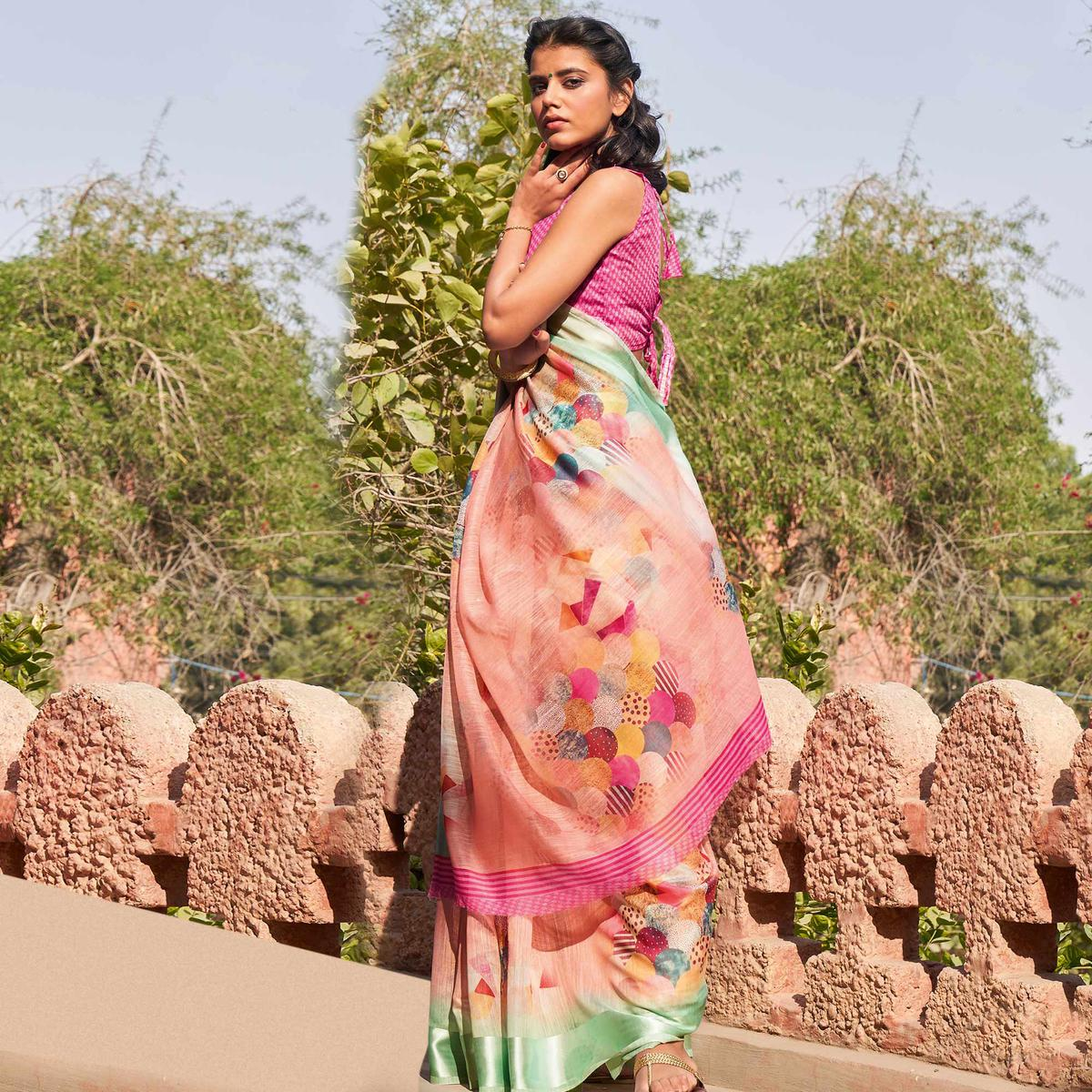 Blooming Peach Colored Casual Wear Printed Cotton Saree