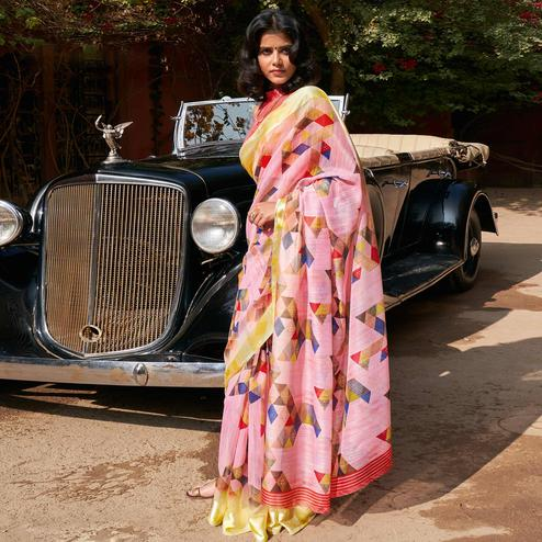 Jazzy Pink Colored Casual Wear Printed Cotton Saree