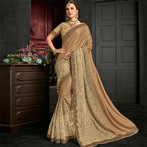Blooming Golden And Beige Designer Lycra Saree