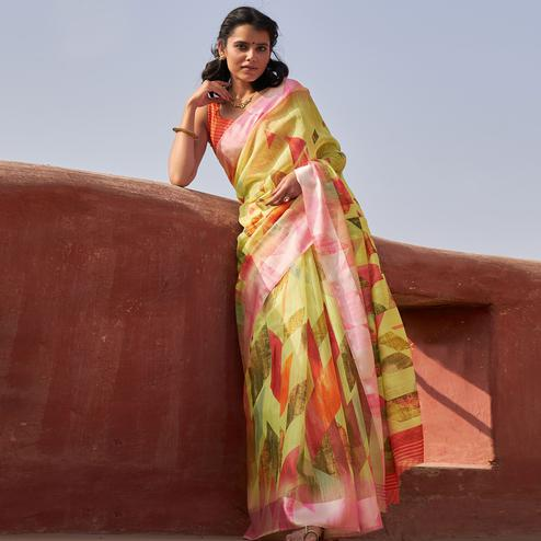 Captivating Lemon Yellow Colored Casual Wear Printed Cotton Saree