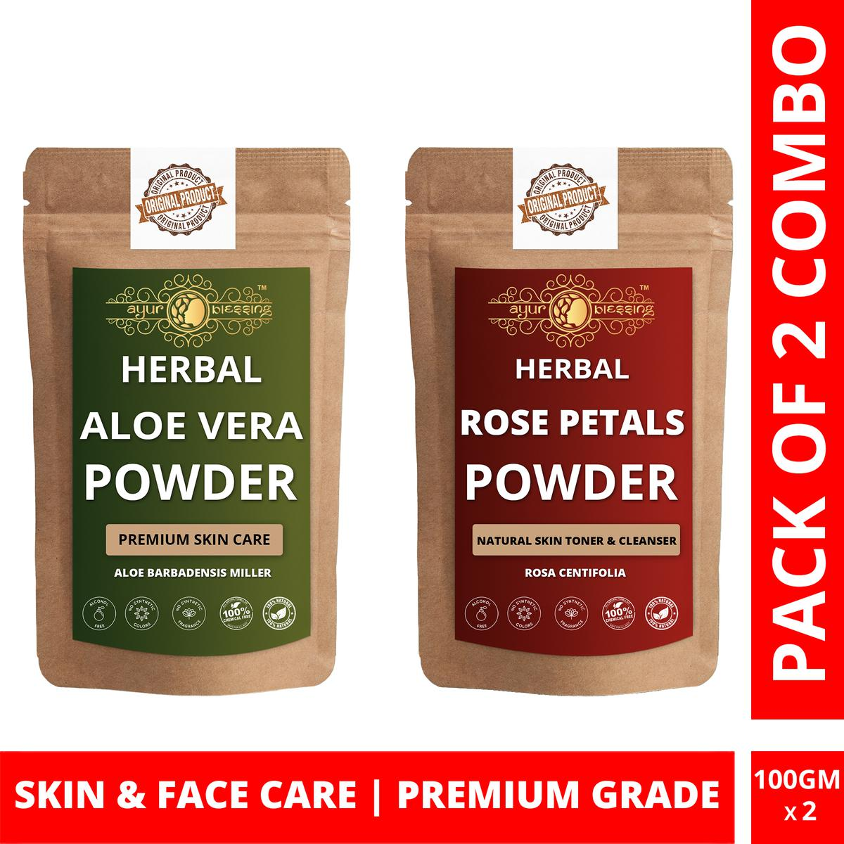 Ayur Blessing - Aloe Vera and Rose Petals Powder Combo Pack, For Face Pack and Skin Care , Pack of 2 (100 Gram * 2)