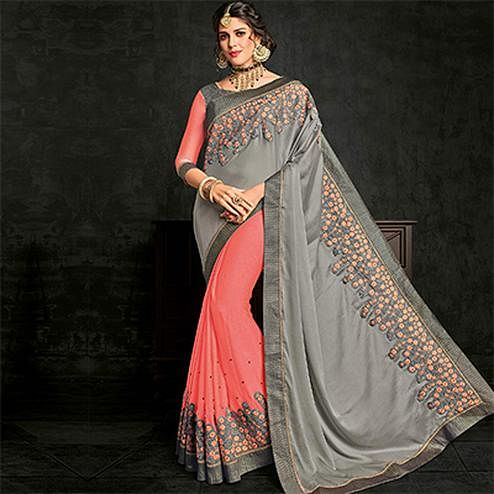 Marvellous Gray-Pink Half- Half Georgette And Moss Chiffon Saree