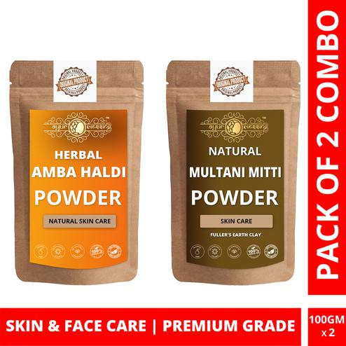 Ayur Blessing - Amba Haldi and Multani Mitti Powder Combo Pack, For Face Pack and Skin Care , Pack of 2 (100 Gram * 2)