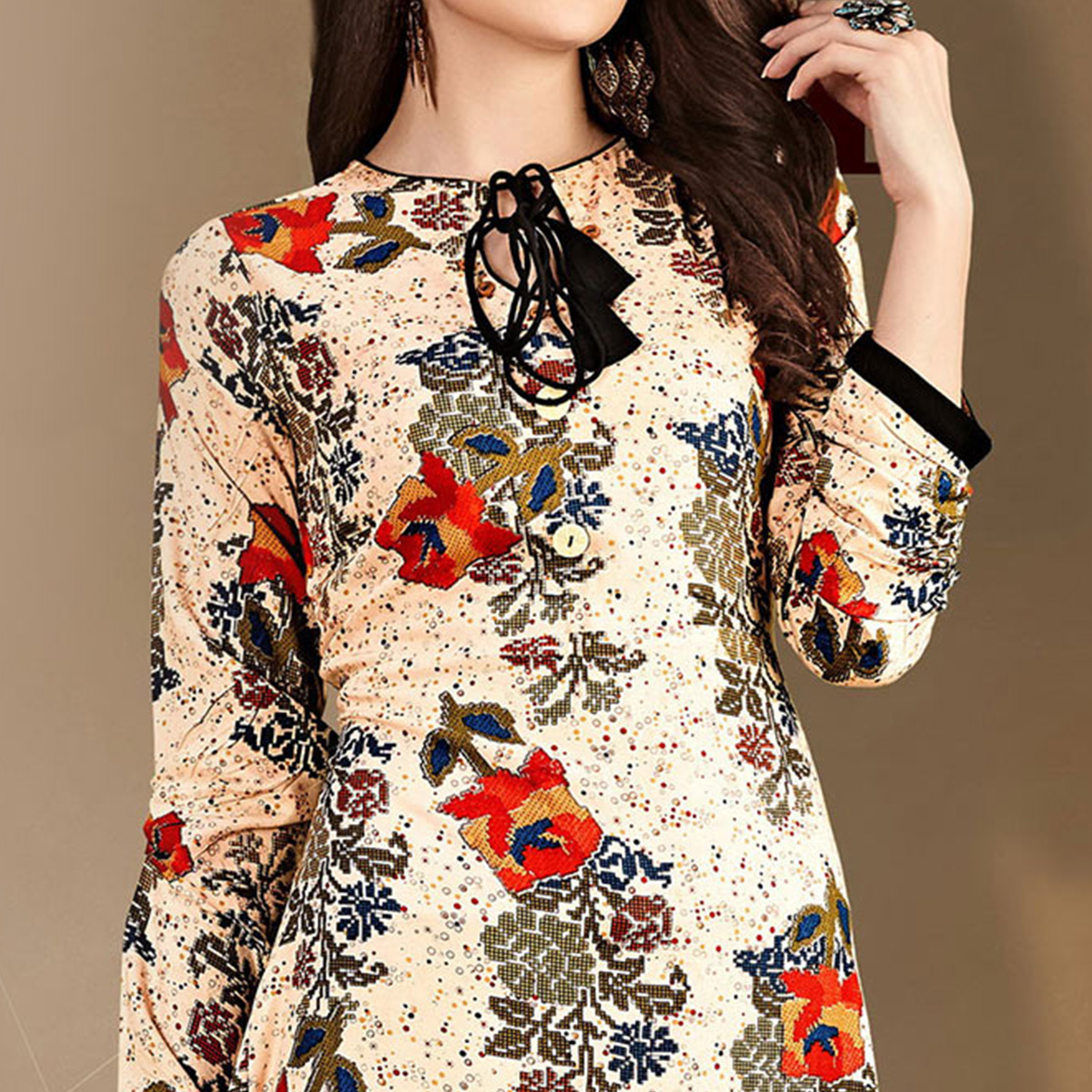 Stylish Beige Designer Printed Rayon-Cotton Kurti