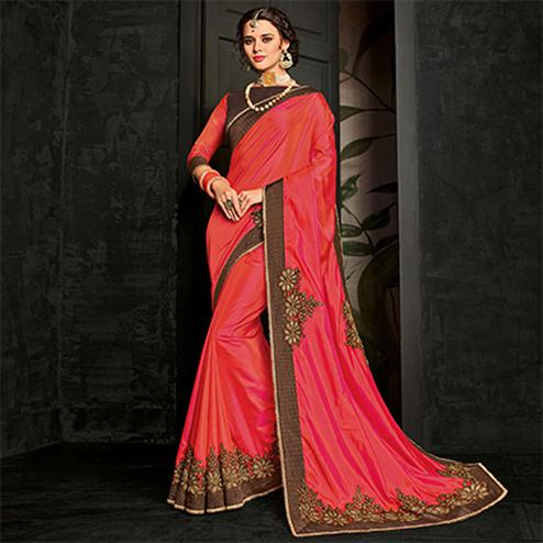 Mesmerising Red Color Partywear Two-Tone Silk Saree