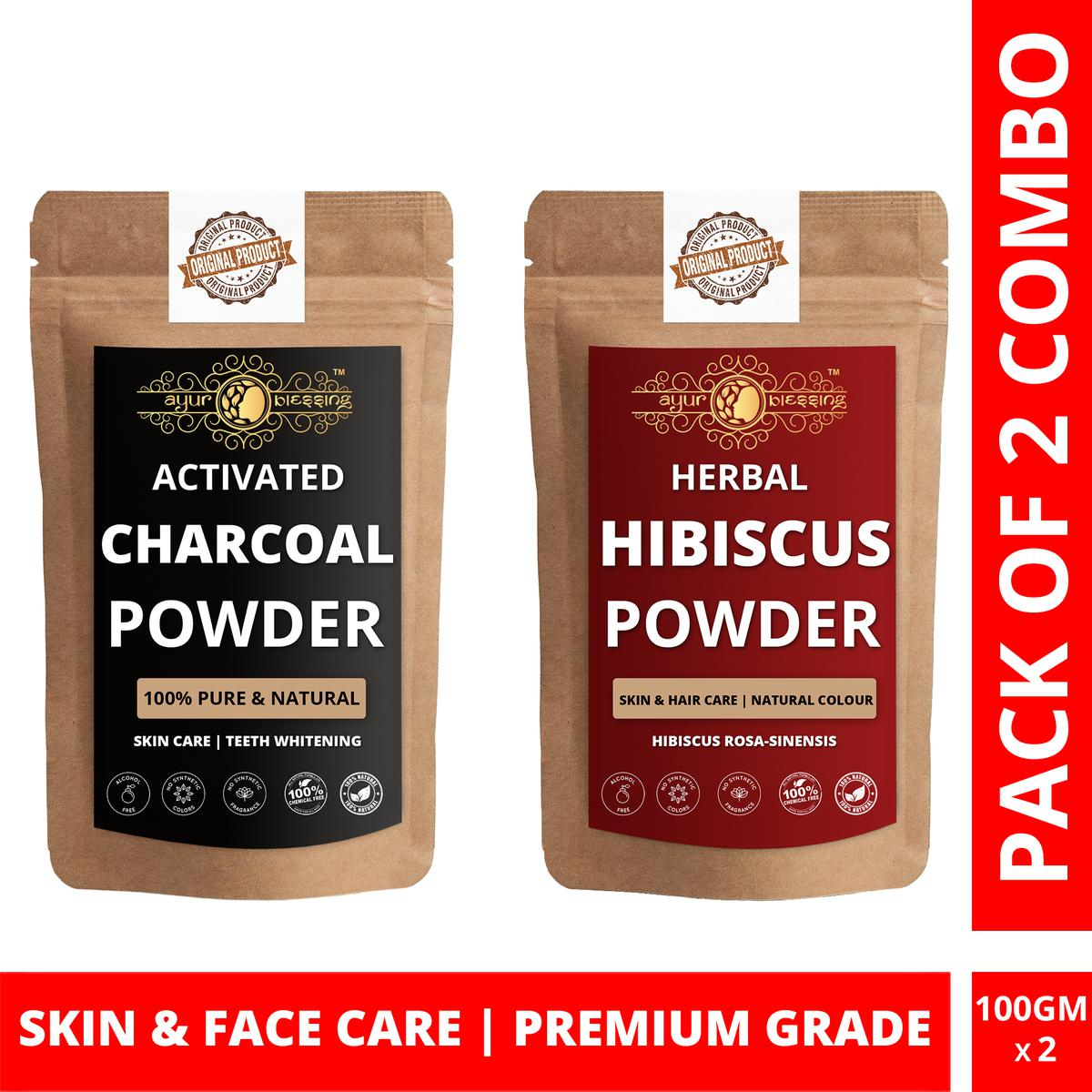 Ayur Blessing - Activated Charcoal and Hibiscus Powder Combo Pack, For Face Pack and Skin Care , Pack of 2 (100 Gram * 2)