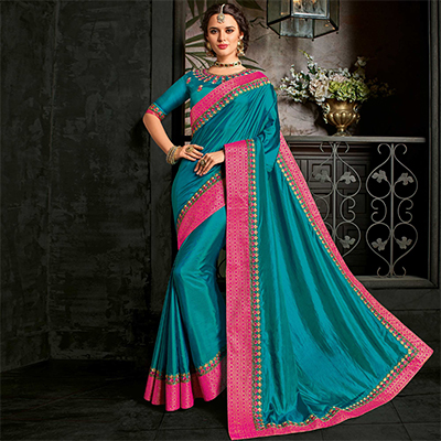Adorable Peacock Green Designer Two-Tone Silk Saree