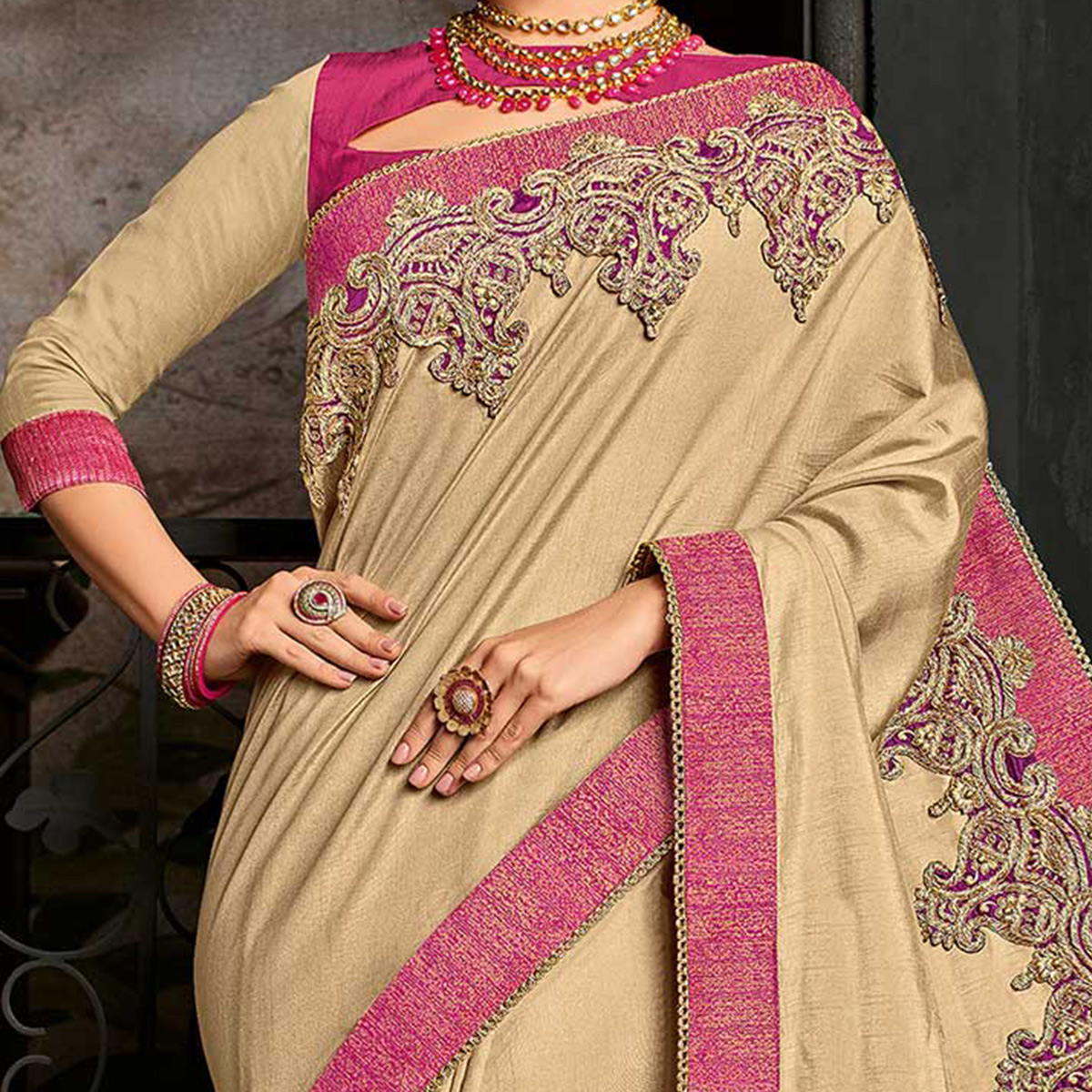 Ravishing Beige Color Border Work Silk Saree
