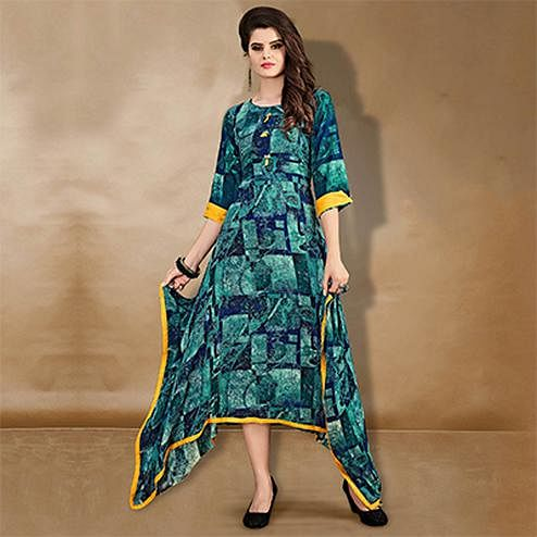 Eye-Catching Teal Blue Designer Printed Rayon-Cotton Kurti