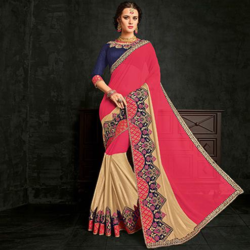 Eye-catching Pink-Beige Designer Glitter Lycra And Marble Chiffon Saree