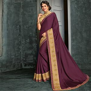 Stunning Wine Color Designer Cotton Silk Saree