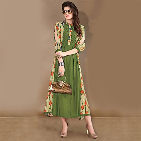 Graceful Green Designer Printed Rayon-Cotton Kurti