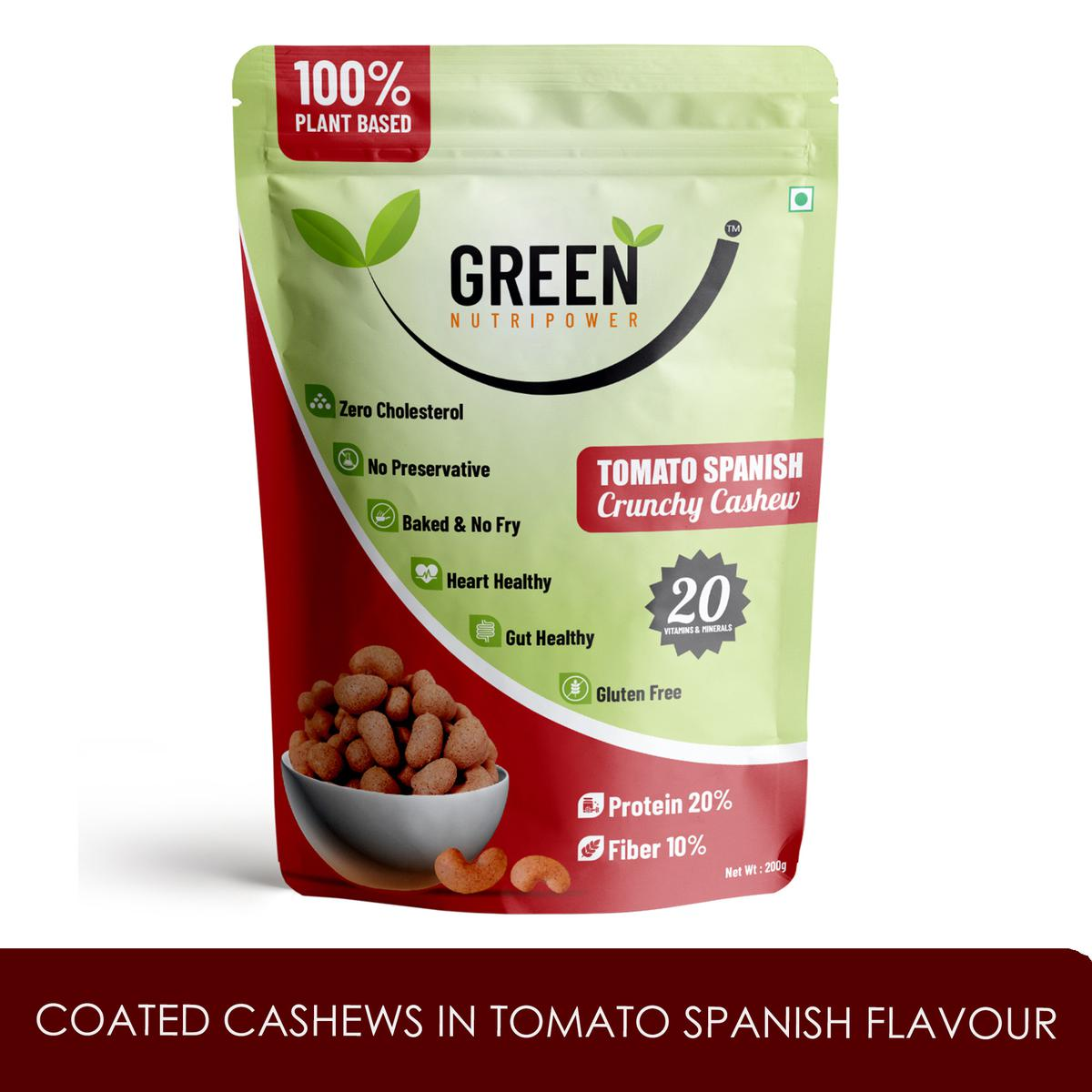Green Nutripower - Coated Cashews in Tomato Spanish Flavour