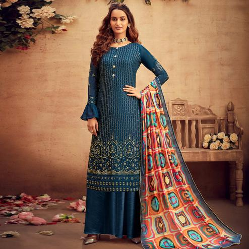 Prominent Blue Coloured Embroidered Partywear Pure Viscose Chiffon Palazzo Suit