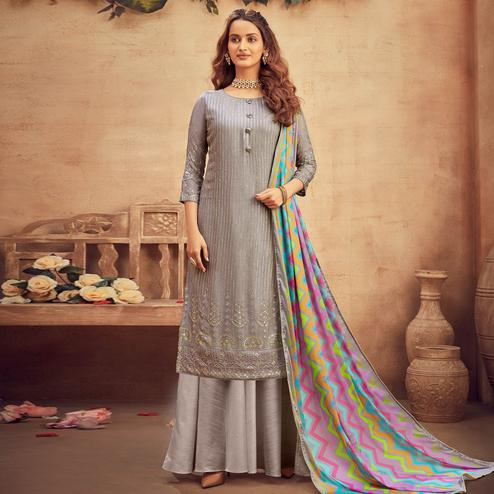 Graceful Grey Coloured Embroidered Partywear Pure Viscose Chiffon Palazzo Suit