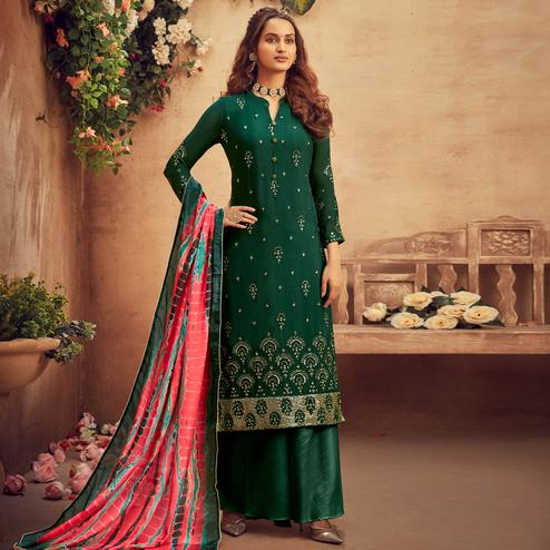 Capricious Green Coloured Embroidered Partywear Pure Viscose Chiffon Palazzo Suit