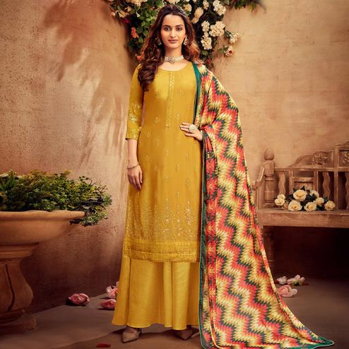 Radiant Yellow Coloured Embroidered Partywear Pure Viscose Chiffon Palazzo Suit