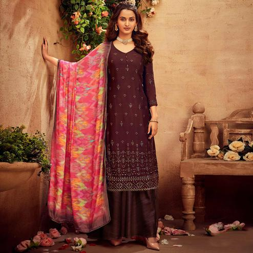 Refreshing Brown Coloured Embroidered Partywear Pure Viscose Chiffon Palazzo Suit