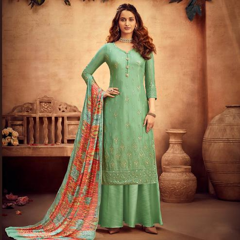 Opulent Turquoise Coloured Embroidered Partywear Pure Viscose Chiffon Palazzo Suit