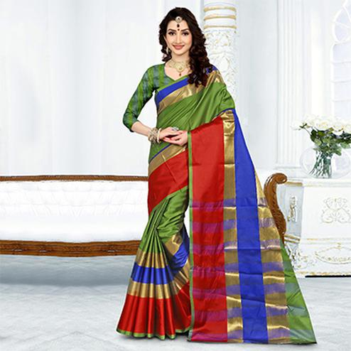 Elegant Green Colored Festive Wear Cotton Silk Saree
