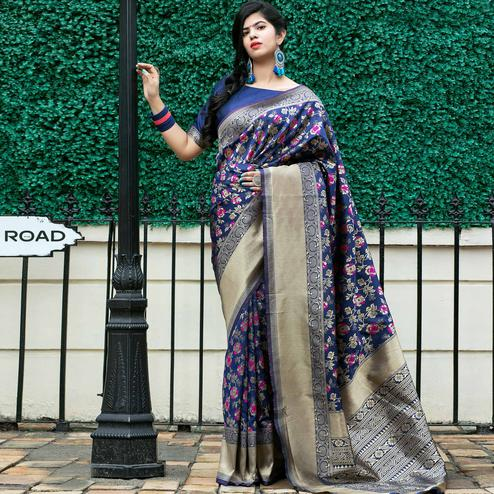 Adorning Blue Coloured Embroidered Partywear Banarasi Silk Saree
