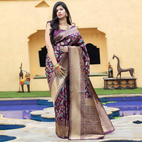 Pleasant Purple Coloured Embroidered Partywear Banarasi Silk Saree