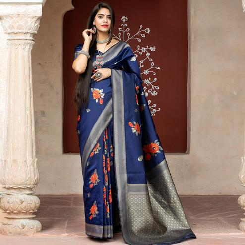 Jazzy Navy Blue Coloured Embroidered Partywear Banarasi Silk Saree