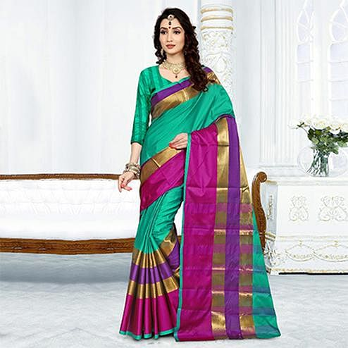 Classy Turquoise Colored Festive Wear Cotton Silk Saree