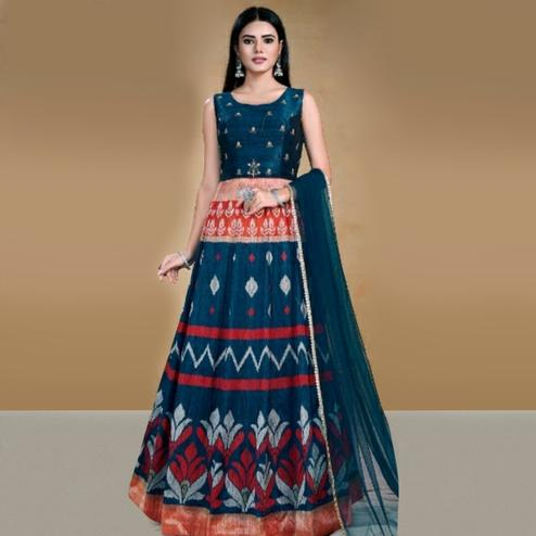 Innovative Blue Colored Partywear Printed Tapetta Gown
