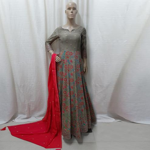 Gorgeous Grey Colored Partywear Embroidered Tapetta Silk Gown