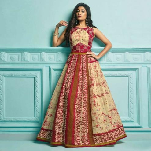 Blissful Multi Colored Partywear Printed Khadi Gown
