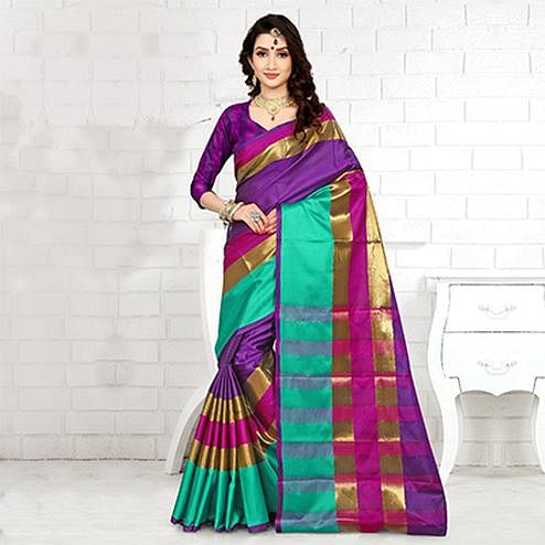 Attractive Purple Colored Festive Wear Cotton Silk Saree
