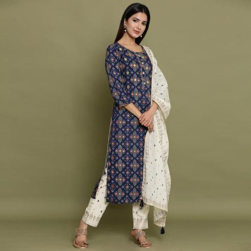 Gleaming Navy Blue Colored Partywear Printed Cotton Kurti - Palazzo Set With Dupatta