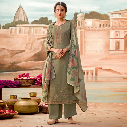 Classy Olive Green Colored Partywear Embroidered Jam Silk Suit