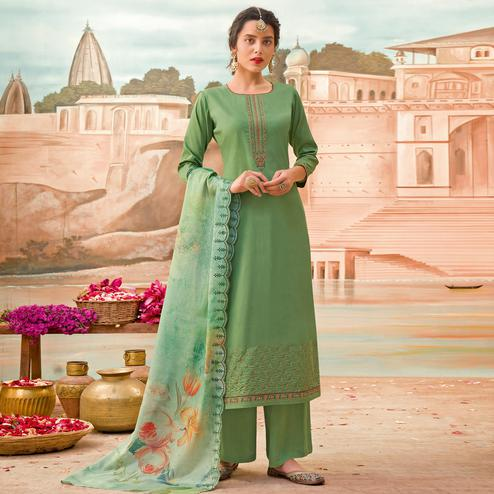 Exclusive Green Colored Partywear Embroidered Jam Silk Suit
