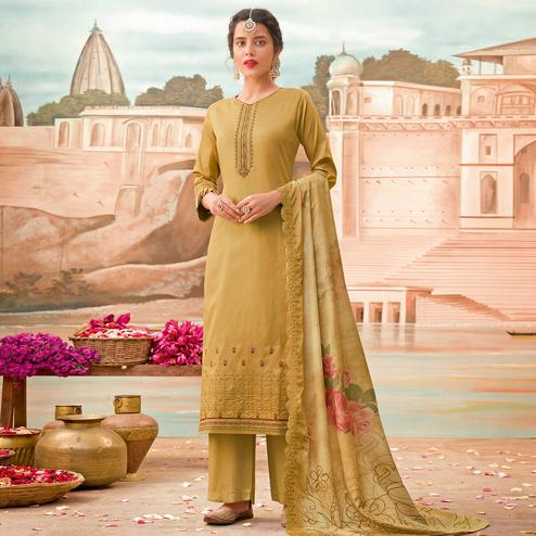 Entrancing Mustard Colored Partywear Embroidered Jam Silk Suit