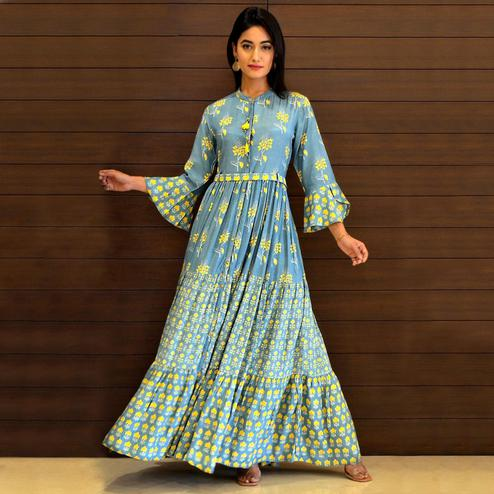 Exotic Blue Colored Partywear Printed Cotton Silk Long Kurti