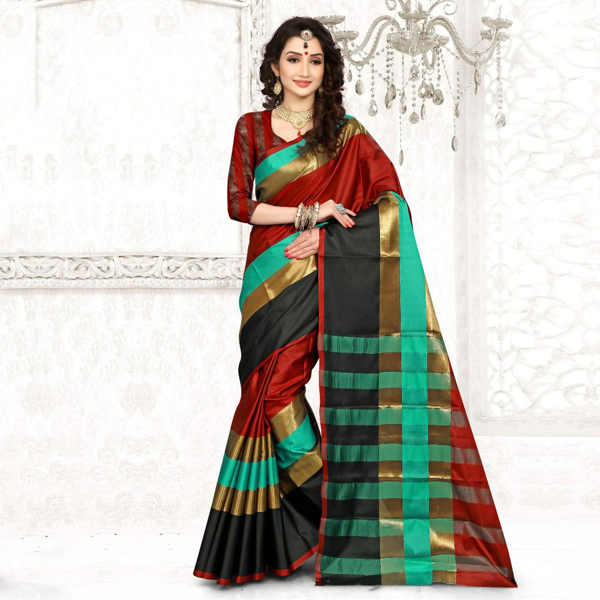 Mesmerising Red Colored Festive Wear Cotton Silk Saree