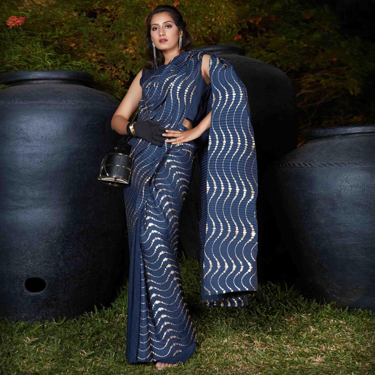 Attractive Navy Blue Colored Party Wear Foil Print With Plitting Half- Half Silk Saree